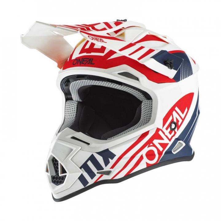 Oneal 2SRS Helmet Spyde 2.0 White/Blue/Red
